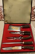 Dreizack Solingen Germany Rostfrei 5 Pc Stag Horn Carving Set In Box Not Used