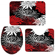 Bath Rugs For Bathroom Set 3 Piece-red Black White Abstract Floral,non-slip Foam