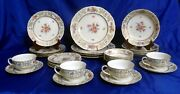 Eschenbach 7 Piece Place Setting For 4 Floral Border And Ctr, Gold Filigree A549