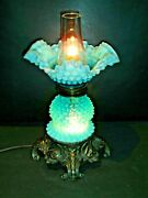 Fenton Old Blue Hobnail Opalescent Oil Style Lamp W/chimney Rare