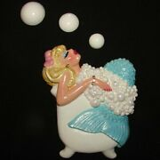 Vintage Mold Diva Mermaid Wall Plaque For Fish And Seahorse Bath Decor