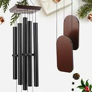 Large Wind Chimes Outdoor Sympathy Wind Chime With 5 Heavy Aluminum 48 Black