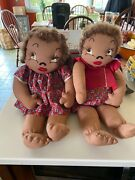 Vintage Boy And Girl Fabric African American Baby Dolls 1950and039s 20 Long Dressed