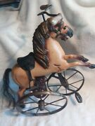Andnbsptoy Tricycle Horse Hand Carved Wood/iron/leather Decorative