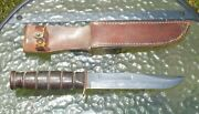 Wwii Ww2 Usmc Kabar Small Letter Fat Handle Fighting Knife Nice Condition