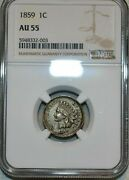 1859 Indian Head Cent Ngc Au55 5948332-003 Exquisite Coin Rare
