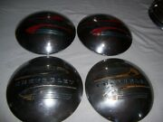 Vintage Set 4 Chevrolet 1941-1948 Car Truck Baby Moon Dog Dish Poverty Hubcaps