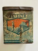 Antique Vintage French Farine Canister Tin Flour Storage 6 Tall