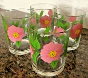 Lot Of 4 Franciscan Desert Rose Double Old Fashioned 12 Oz Tumbler Glass 4 1/8