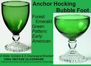 Anchor Hocking Green Bubble Foot 8 Water Goblets And 5 Champagne Sherbet Glasses
