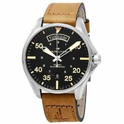 Brand New Hamilton Menand039s Khaki Aviation Day Date Brown Leather Watch H64645531