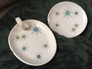 Mcm Atomic Franciscan Starburst Jam Jelly Tray Nappy Dish Handle And Bread Plate