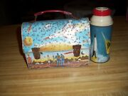 Vintage Space Themed Domed Metal Lunch Box, thermos Lunchbox, Space Ships