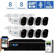 8 Channel Nvr 8 X 6mp Poe Ip 4x Motorized Zoom Microphone Security Camera System