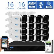 16 Channel Nvr 16 X 6mp Poe Ip Motorized Zoom Microphone Security Camera System