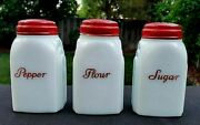 Rare Vintage Mckee Roman Arches Red Lid And Scrip Pepper Shaker White Milk Glass