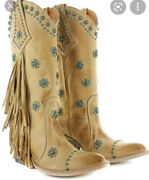 Old Gringo Women's Savannah Straw Western Boots Size 10 Fringe And Turquoise