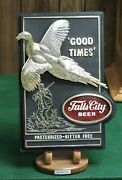 Falls City Beer Louisville Ky. 3d Pheasant And Hunter And039good Timesand039 1969 Bar Sign