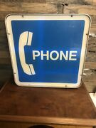 Vintage Bell Telephone Pay Phone Booth Square Lighted Sign Working 19x19
