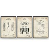 Hunting Set Of 3 Patent Prints - Scouts Poster Wall Art Decor - Unframed