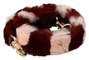 Dolce And Gabbana Shoulder Strap Pink Red Lapin Fur Accessory 50cm Rrp 800