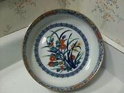 Large Chinese Vintage Blue And White Signed Asian Flower Porcelain Bowl 8.75 Andnbsp