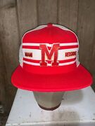 Vintage Rare Miami Of Ohio Redskins Red Ajd Superstripe Trucker Style Ncaa Hat