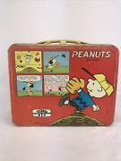 Vintage 1965 Peanuts Lunch Box Tin Thermos Brand Charlie Brown Snoopy