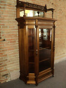 Antique Walnut China Cabinet With Gallery And Mirror