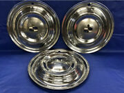 """Very Rare Vintage Set Of 3 1951 Lincoln 15"""" Hubcaps Lido Good Condition"""
