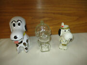 3 Retro Snoopy The Dog Collectables Lot Glass And Ceramic Coin Banks And Plastic Toy