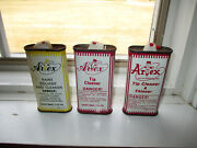 3 Vintage Artex Tip Cleaner And Thinner And Paint Solvent Lima Oh Handy Oil Can Tins