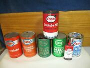 7 Vintage Esso Canada Motor Oil Cans Lot Quart Tin And Cardboard And Handy Oiler