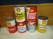 6 Vintage Shell Motor Oil Cans Lot Quarts Canada Usa Cardboard All Different