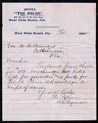 West Palm Beach Fl 1905 Hotel The Palms Over Charging The Governor Letter Head