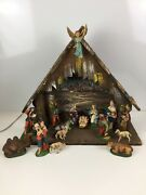 Vintage Fontanini Large Nativity Set Chalkware Lighted Creche And 16 Figures Italy