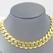 10k Yellow Gold 14 Mm Royal Cuban Link Chain Necklace Men Women Real