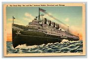 Vintage 1946 Postcard The Great Ship Seeandbee Sails To Cleveland And Chicago