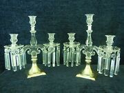 Stunning Pair Of T.g. Hawkes Sterling Silver And Cut Glass 3 Arm Candelabras