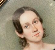 Georgian Hand Painted Miniature Portrait 14k Gf Frame Young Lady In Black Dress
