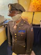 1942 Dated Ww2 9th Usaaf Pilot Crusher Cap Tunic And Pants W Ribbon Wings