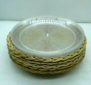 Wicker Paper Plate Holders And Acrylic Inserts Brown Lot Of 6 2pc Sets 10