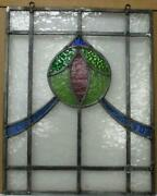 Old English Leaded Stained Glass Window Unframed W Hooks Swags 15 X 18.75