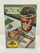 Vintage Dr Pepper Counter Stand Up Sign 1987 Cardboard Go For It 9' X 13' Rare