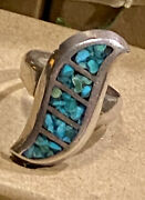 9g Tall Vintage Eagle Mexico Turquoise Sterling Silver Curvy Ring 925 Markings
