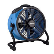 14 Blue Portable Industrial Carpet Floor Wall Axial Fan Built In Power Outlet
