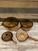 Vision Ware France Vintage Corning Pyrex Amber Glass Cookware 7 Piece Lot
