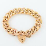 Antique 9ct Gold Pattern / Chased Curb Link Charm Bracelet