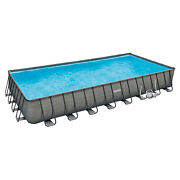 Summer Waves 32ft X 16ft X 52in Rectangle Frame Above Ground Pool Set Used