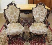 Antique Pair Of French Louis Xv Carved Walnut Shield Back Arm Chairs Circa 1920